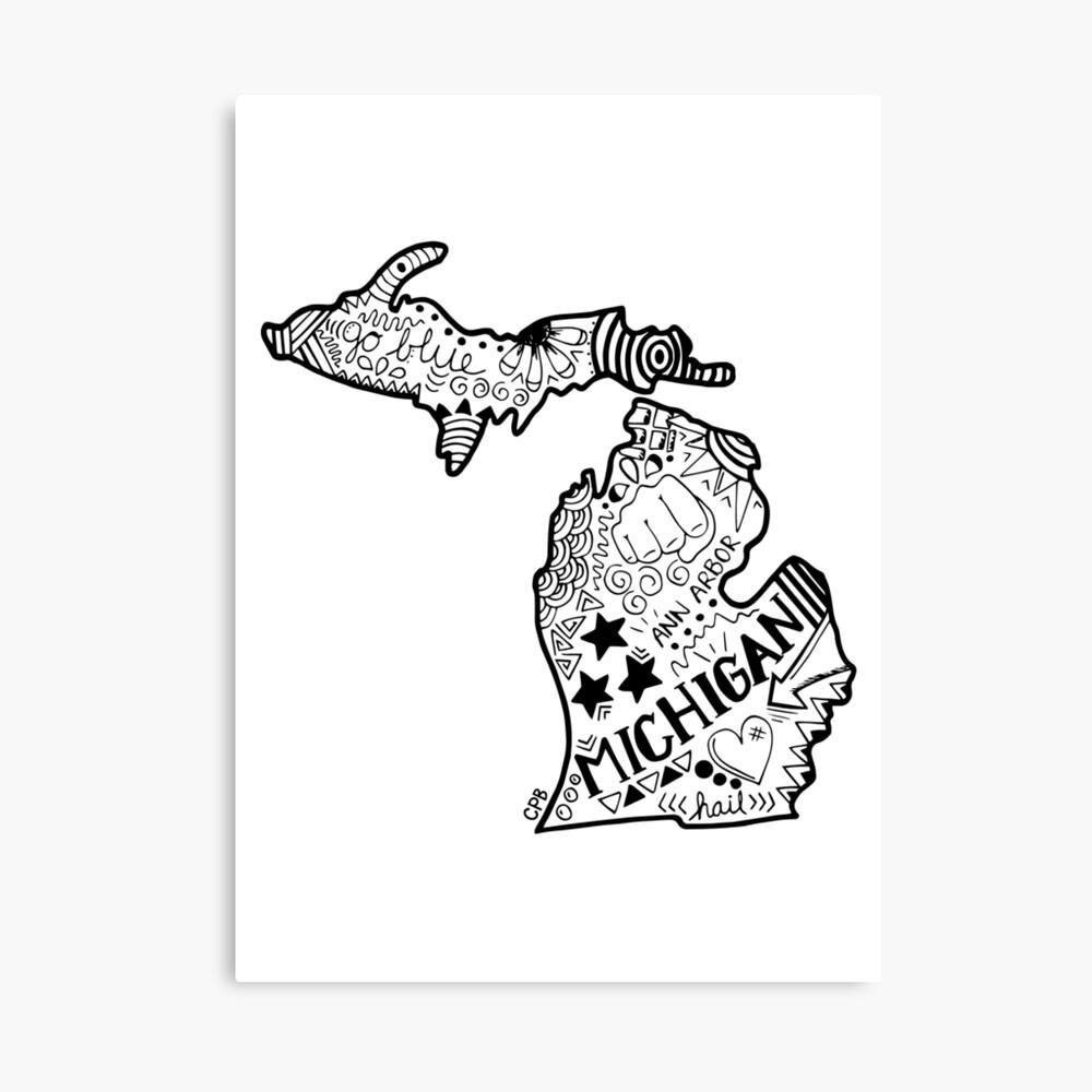 Michigan Gekritzel Leinwanddruck