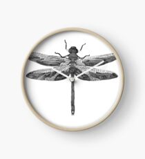 Dragonfly line drawn mosaic Clock