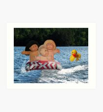 WEEE > SPLISH SPLASH CABBAGE PATCH KIDS (DOLLS) AND DUCK HAVING FUN IN THE WATER Art Print