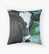 Muddy Fields Cow Painting Throw Pillow