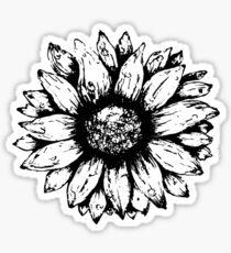 Black & White Sunflower  Sticker