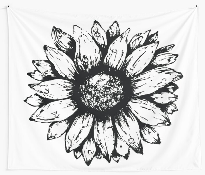 Black White Sunflower Wall Tapestries By Bohemiandesignz Redbubble