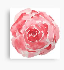 Red Watercolor Flower Canvas Print
