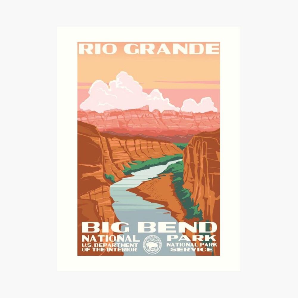 Calcomanía de viaje vintage de Big Bend National Park Rio Grande Lámina artística