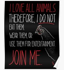 Love All Animals - Black Poster