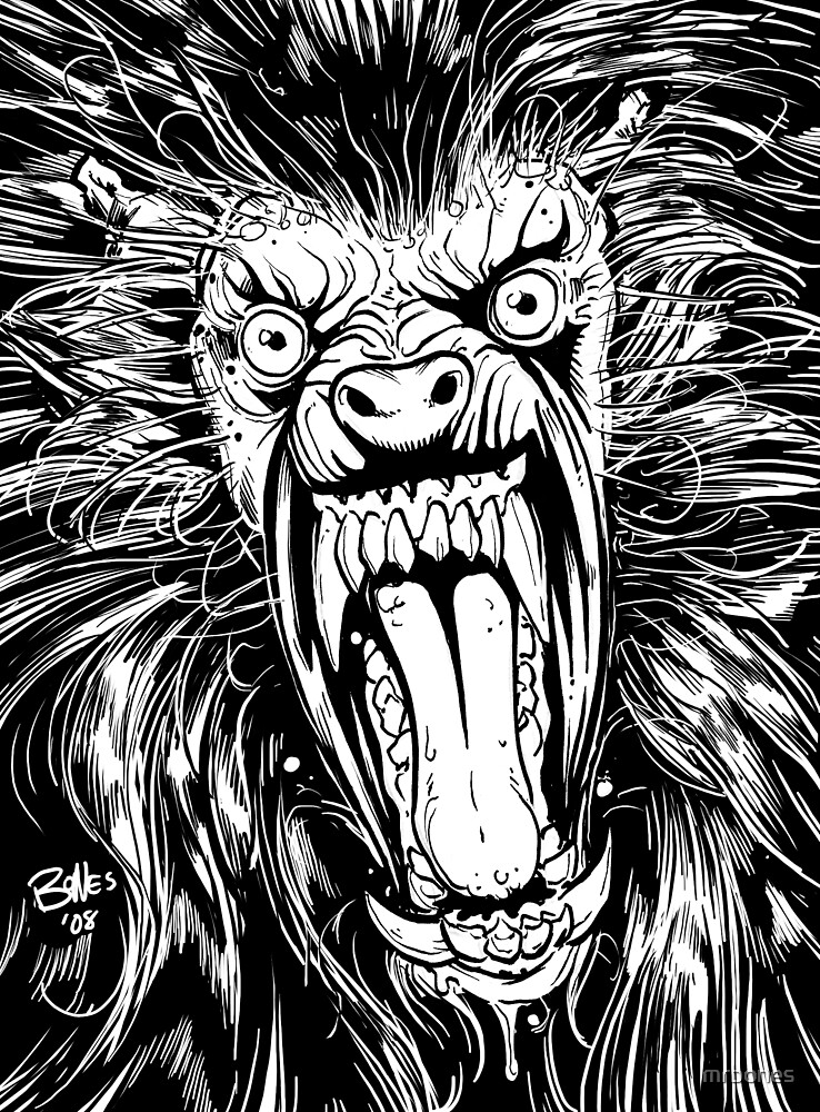 AMERICAN WEREWOLF IN LONDON BLACK AND WHITE by mrbones