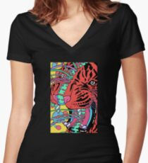 Psychedelic Vibes Women's Fitted V-Neck T-Shirt