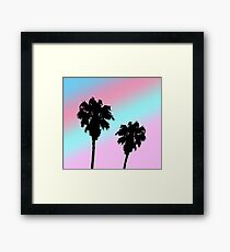Pastel Sunset Palm Tree Silhouette Framed Print
