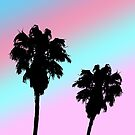 Pastel Sunset Palm Tree Silhouette by julieerindesign