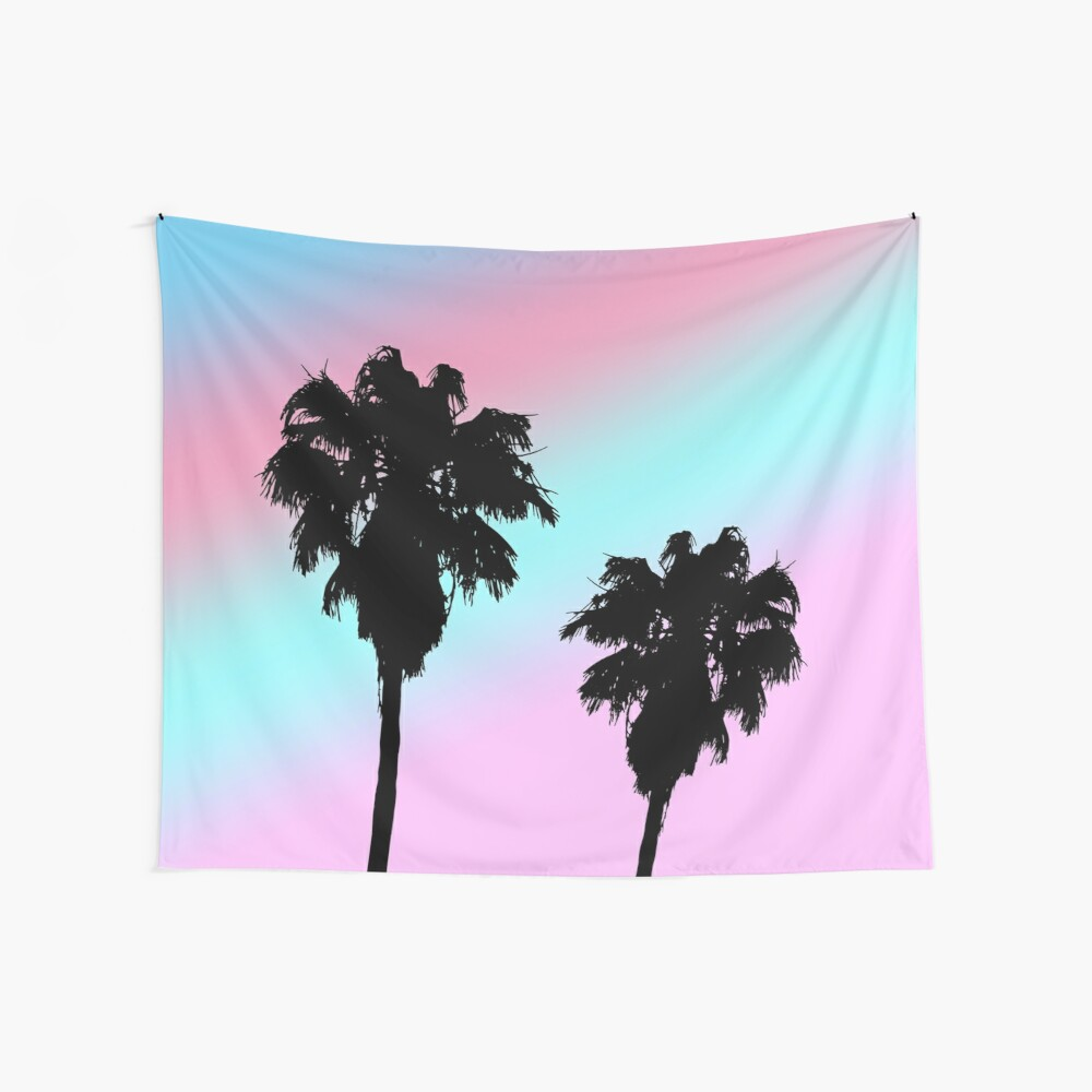Pastel Sunset Palm Tree Silhouette Wall Tapestry