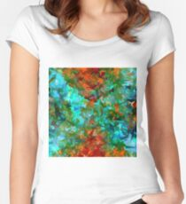 psychedelic geometric abstract pattern in green blue orange Women's Fitted Scoop T-Shirt