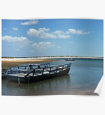 Blue boat waiting for tourists Poster