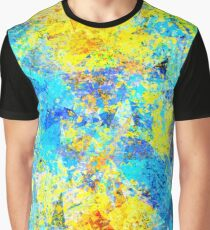 psychedelic geometric abstract pattern in yellow and blue Graphic T-Shirt