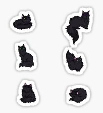 Fluffy Black Kittens Sticker