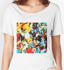 psychedelic geometric splash painting abstract pattern in yellow red blue brown Women's Relaxed Fit T-Shirt