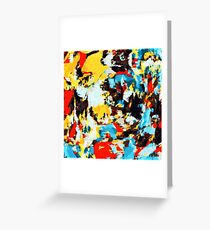 psychedelic geometric splash painting abstract pattern in yellow red blue brown Greeting Card