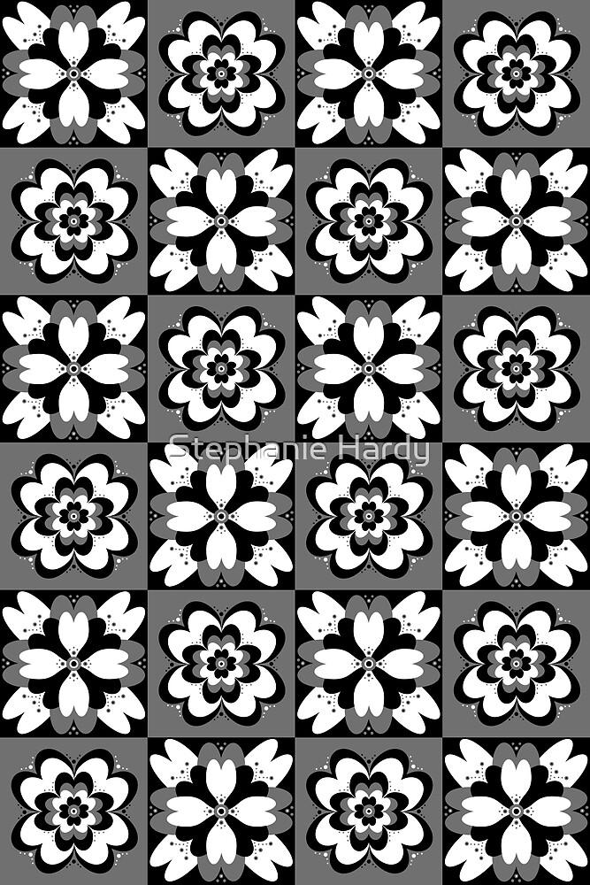 Flower Pattern (white, black, grey)  by Stephanie Hardy