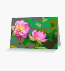Abtract of Lotus Flowers Greeting Card