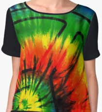 Retro Psychedelic Tie Dye Peace Sign Design Women's Chiffon Top
