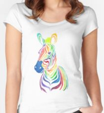 Rainbow Zebra in Bold Women's Fitted Scoop T-Shirt