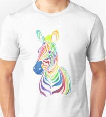 Rainbow Zebra in Bold T-Shirt