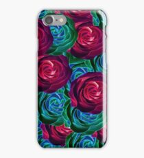 closeup blooming roses in red blue and green iPhone Case/Skin