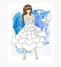 Origami Anime Girl Design Photographic Print