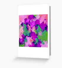psychedelic geometric polygon pattern abstract in pink purple green Greeting Card