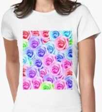 closeup colorful rose texture background in pink purple blue green T-Shirt