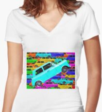vintage classic car toy background in yellow blue pink green orange Women's Fitted V-Neck T-Shirt