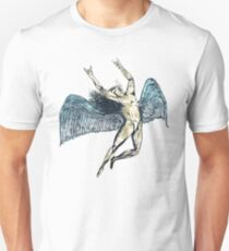 ICARUS THROWS THE HORNS - super blue grunge NEW T-Shirt