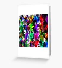 psychedelic splash painting abstract texture in pink blue green yellow red black Greeting Card