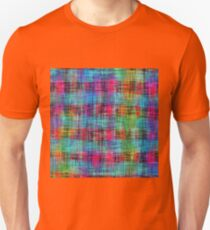 plaid pattern abstract texture in blue pink green yellow T-Shirt