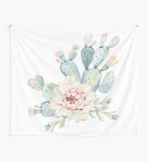 Pretty Cactus Pink White and Green Desert Cacti Wall Art Wall Tapestry