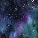Watercolor outer space background by J5N5