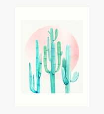 Pretty Cactus Rosegold Pink and Turquoise Desert Cacti Southwest Decor Art Print