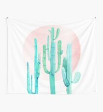 Pretty Cactus Rosegold Pink and Turquoise Desert Cacti Southwest Decor Wall Tapestry