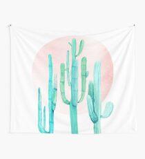 Hübscher Kaktus Rosegold Pink und Türkis-Wüsten-Kaktus-Südwestdekor Wandbehang
