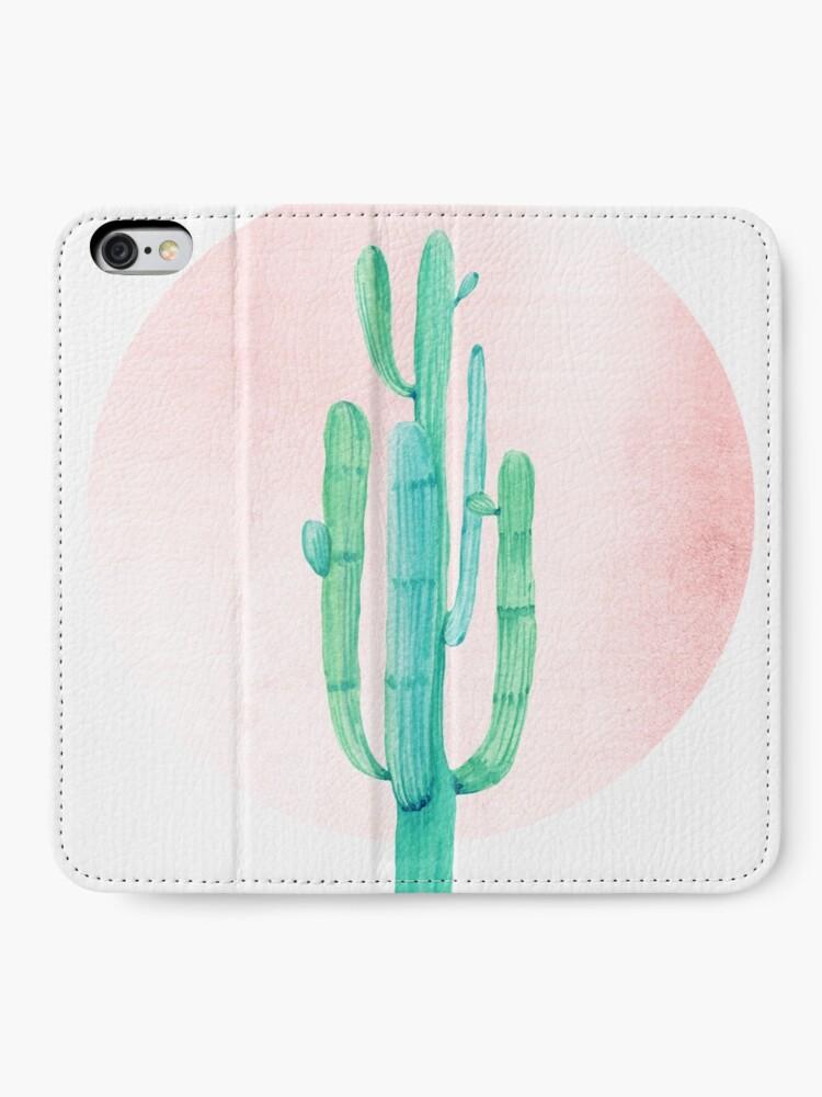 Vista alternativa de Fundas tarjetero para iPhone Elegante Cactus Rosegold rosa y turquesa Desert Cacti Southwest Decor