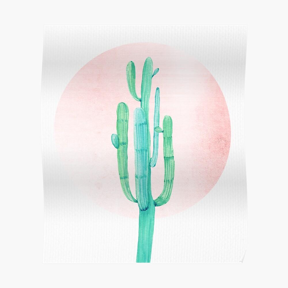 Elegante Cactus Rosegold rosa y turquesa Desert Cacti Southwest Decor Póster