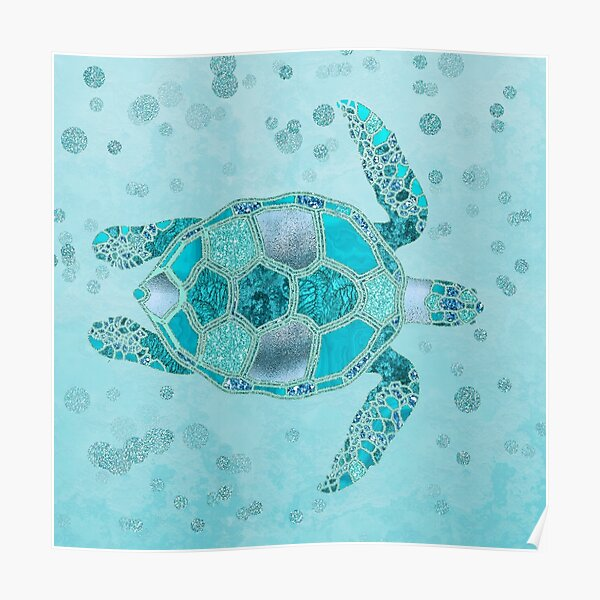 Glamour Aqua Turquoise Turtle Underwater Scenery Poster
