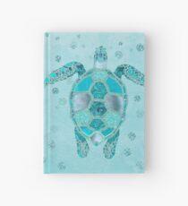 Cuaderno de tapa dura Paisaje subacuático de Glamour Aqua Turquoise Turtle