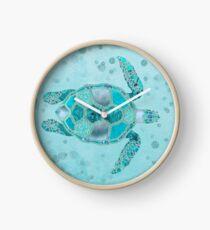 Glamour Aqua Turquoise Turtle Underwater Scenery Clock
