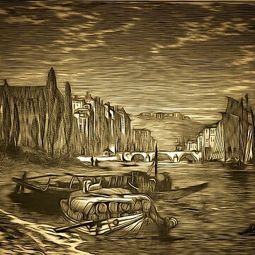 A Bridge and Boats in Bayonne, France 1885 by ZipaC