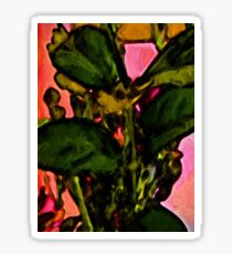 Green Leaves with some Pink Sticker