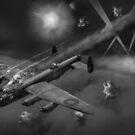 Lancaster KB799 under fire B&W version by Gary Eason