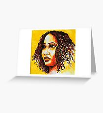"""""""The girl"""" woman on a yellow background Greeting Card"""