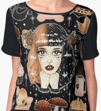Autumn doll ( black ) Women's Chiffon Top