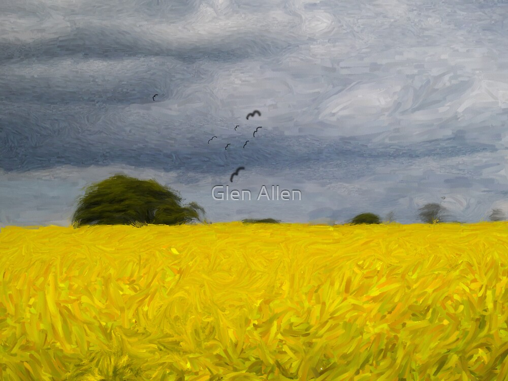 Rapeseed Fields - Impressionist - Oil Painting Effect by Glen Allen