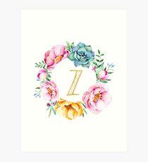 Watercolour floral initial wreath letter Z Art Print